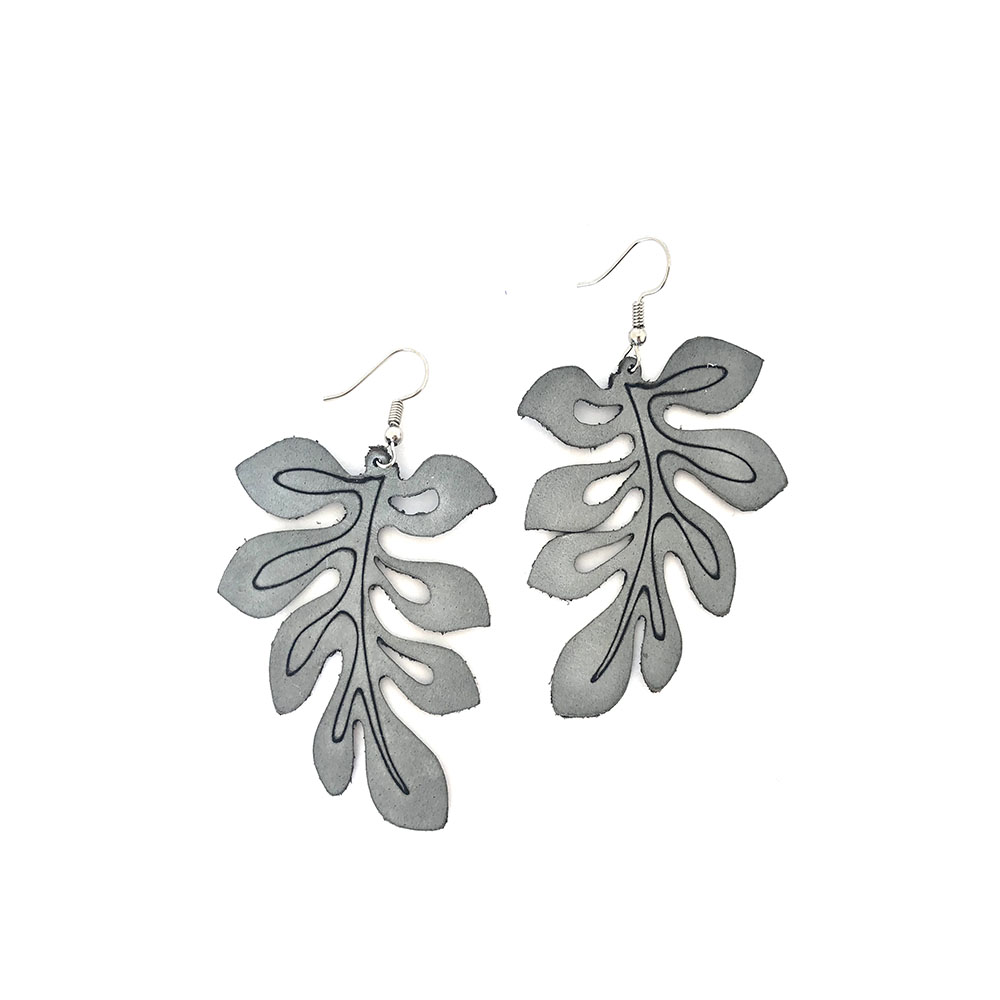 Angled Leaves Leather Earrings