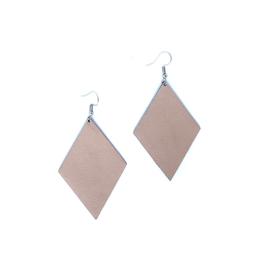 Diamond Leather Earrings