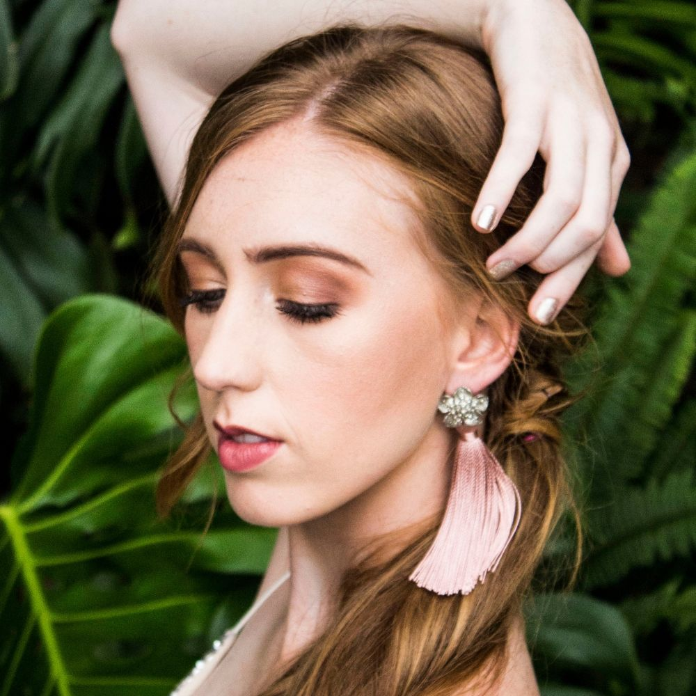 Flower Tassel Long Earring