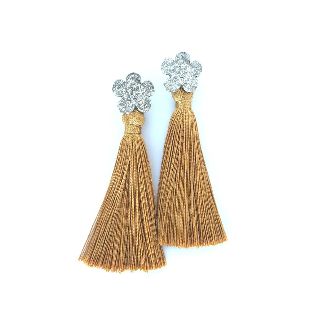Flower Tassel Long Earring