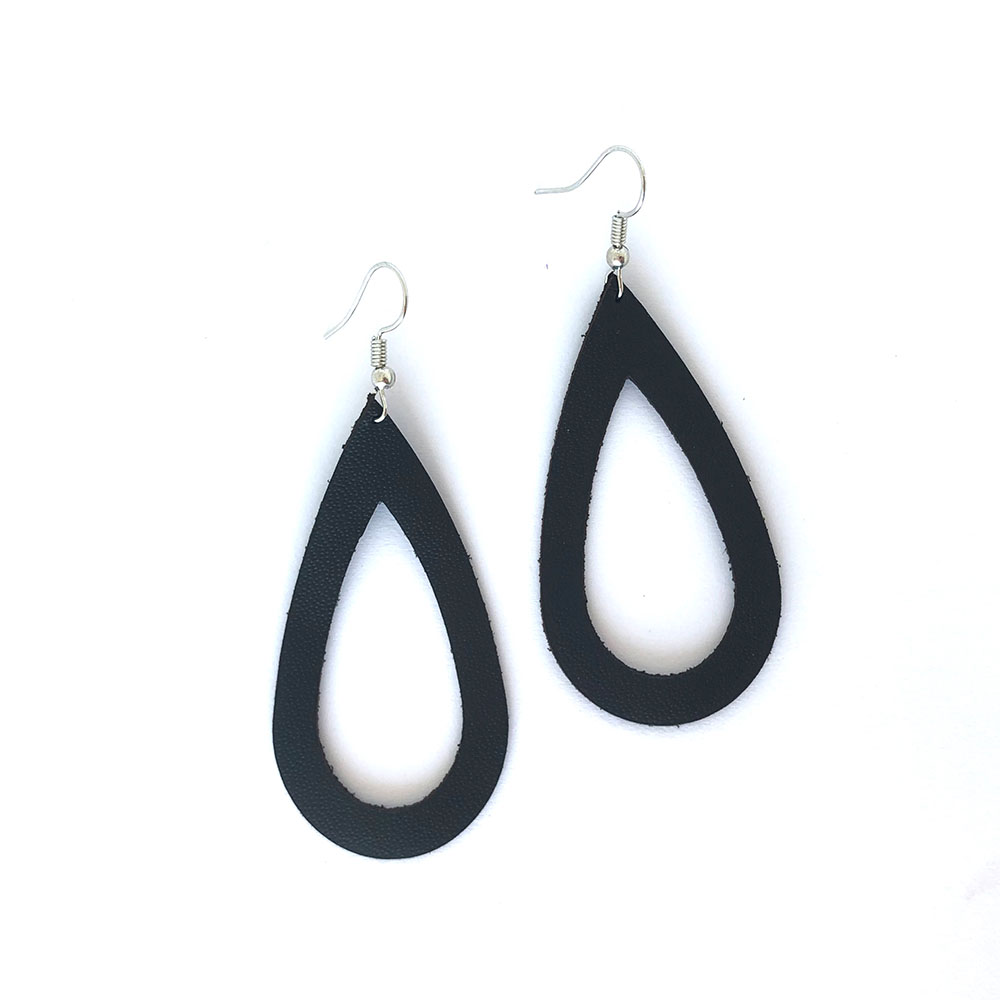 Raindrop Leather Cutout Earrings
