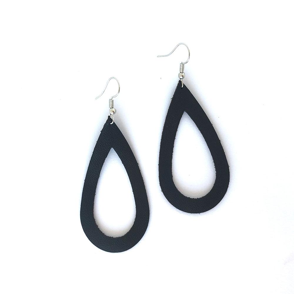 Raindrop Leather Cutout Earrings
