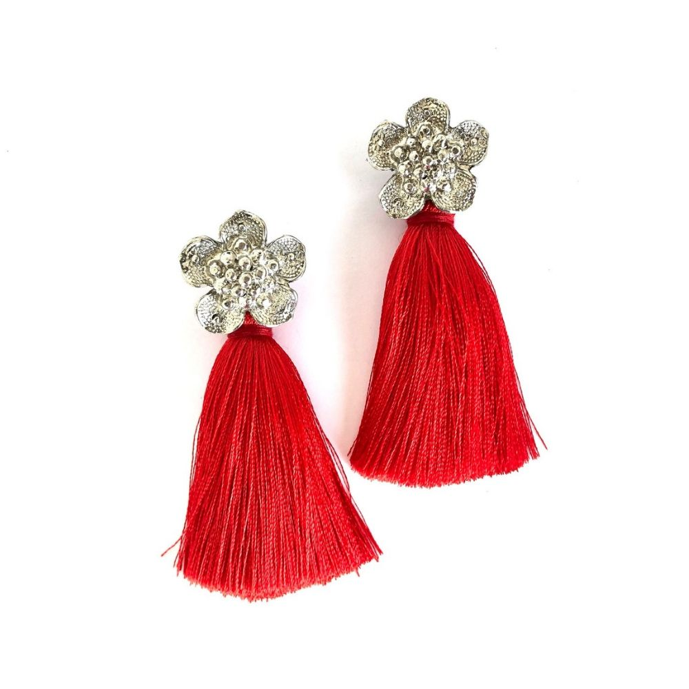 Flower Tassel Short Earrings